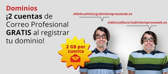 Consigue 2 buzones de Correo Profesional gratis al registrar o transferir tu dominio