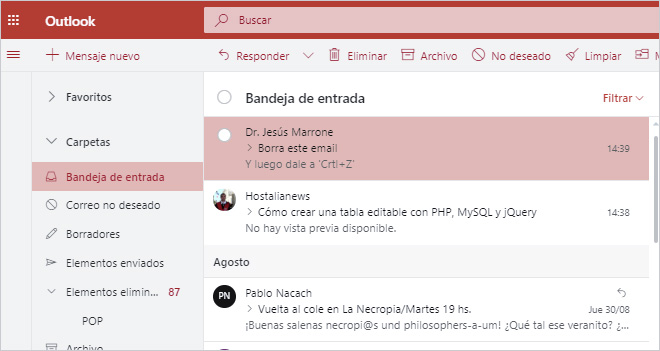 'Control+Z' vale para deshacer acciones en Outlook y Hotmail