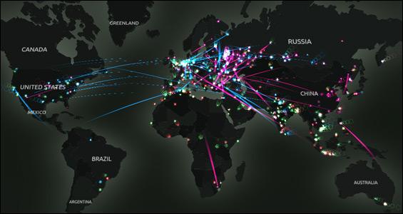 Impresionante cibermapa con amenazas y virus que acechan nuestros ordenadores