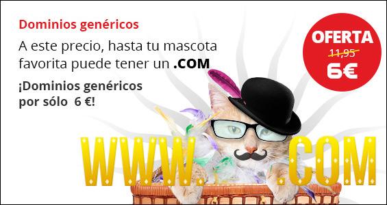 ¡Dominios genéricos por sólo 6 euros! .com, .net, .biz, .org o .info