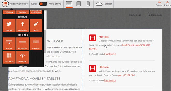 Ejemplos de clientes que ya están usando Tu Web de Hostalia