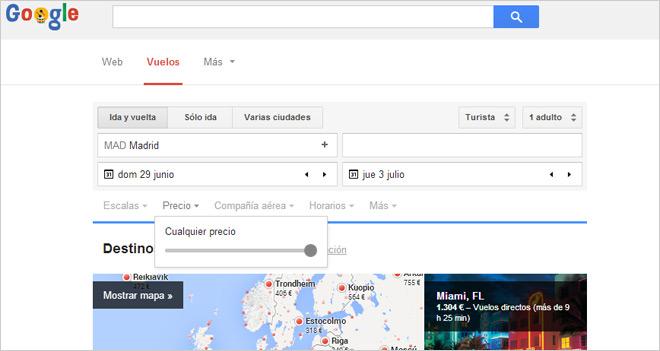Google Flights, un mapa del mundo con precios de vuelo según las fechas y origen elegidos
