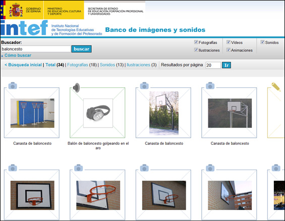 banco de imágenes, vídeos y sobre todo sonidos , permitiendo filtrar