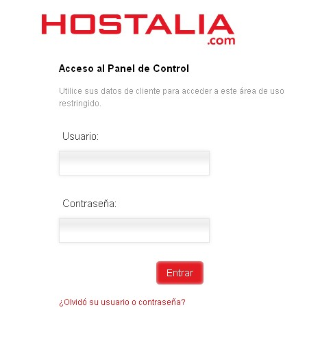pagina logueo - blog hostalia hosting