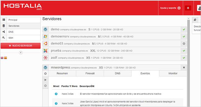 Servidor Cloud de Hostalia: despliega tus servidores y aplicaciones de forma sencilla