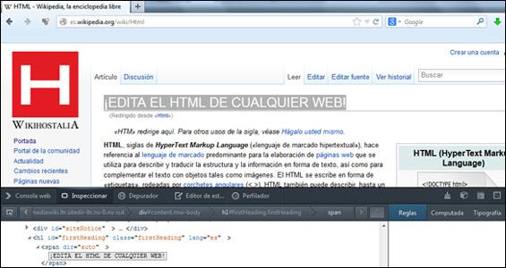 ¡Edita el html de cualquier web con tu navegador!