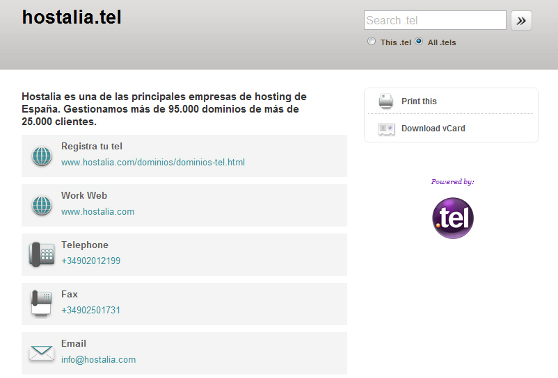 tarjeta visita tel - blog hostalia hosting