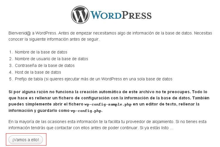 ayuda instalacion wp - blog hostalia hosting