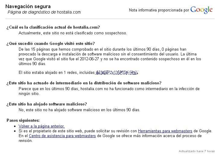 pagina diagnostico de google - blog hostalia hosting