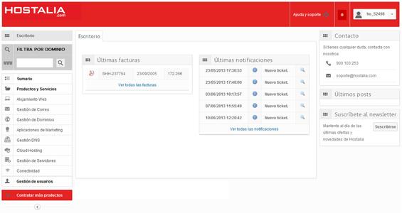 Guía de uso: nuevo panel de clientes de Hostalia con más funcionalidades
