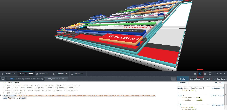 Firefox te permite ver la web en 3D. Puedes girar y rotar presionando con el puntero y moviéndolo, y con los cursores te puedes desplazar.
