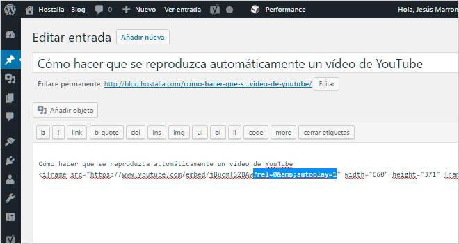 Cómo hacer que se reproduzca automáticamente un vídeo de YouTube