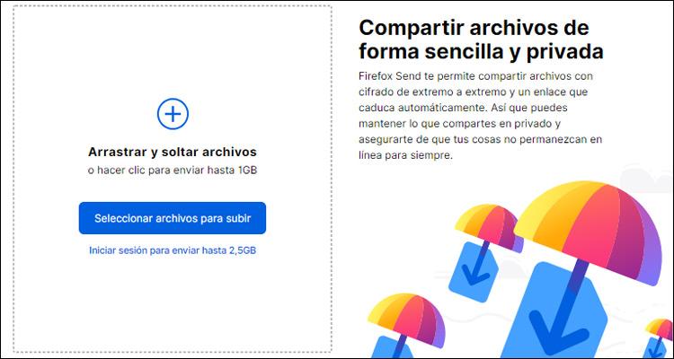 Firefox Send envía archivos cifrados end-to-end de hasta 2,5 GB con opción de añadir contraseña